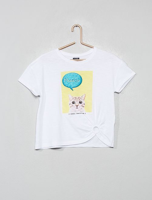 T-shirt print en relief                                                                 blanc