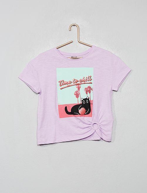 T-shirt print en relief                                                                 mauve