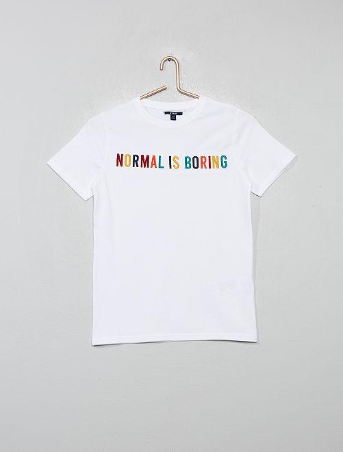 T-shirt print et broderie                                 blanc