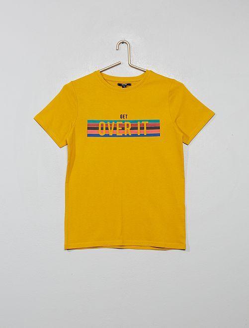T-shirt print et broderie                                                                 jaune