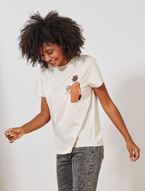 T-shirt print 'filles'                                         beige chiné