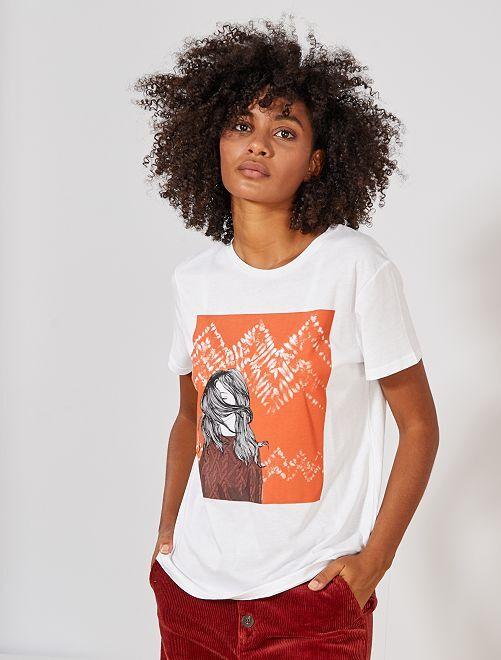 T-shirt print 'filles'                                         blanc