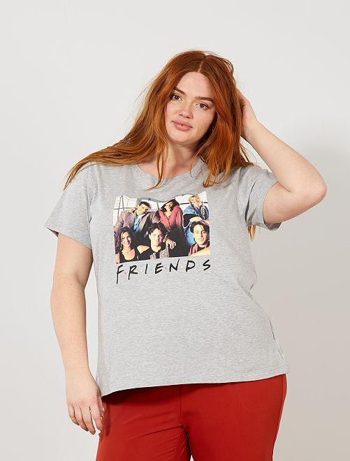 T-shirt print 'Friends'                             gris Grande taille femme