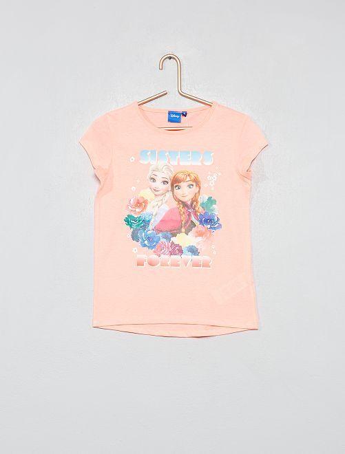 T-shirt print 'La Reine des neiges'                             rose fluo