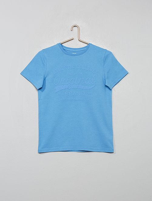 T-shirt print reliefé                                             bleu clair