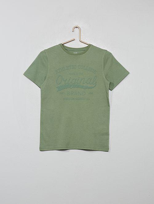 T-shirt print reliefé                                                                 kaki