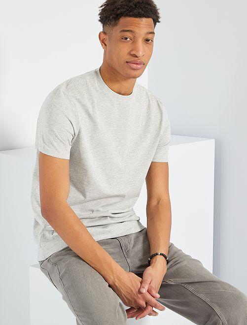 T-shirt pur coton +1m90                                                                                 gris clair chiné