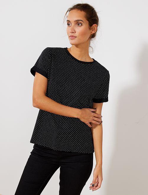 T-shirt imprimé                                                                                                                                                                                                                                                                                                                                 noir à pois Femme