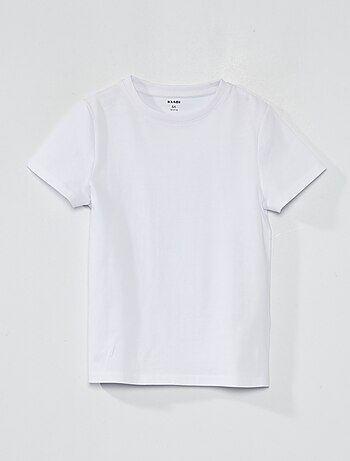 Le retour aux basiques ! - T-shirt pur coton - Manches courtes - Col rond fines côtes