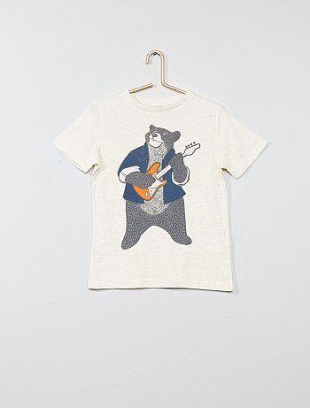 Des imprimés super fun ! - T-shirt pur coton - Manches courtes - Col rond fines côtes - Animation fantaisie devant