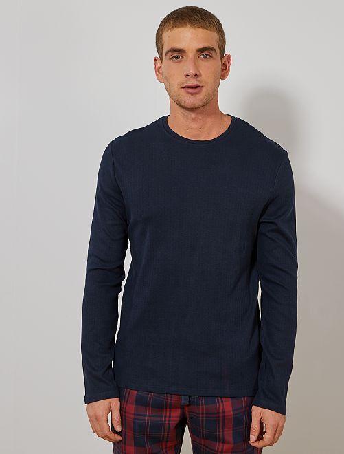 T-shirt pyjama manches longues                                                     bleu marine