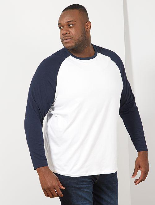 T-shirt raglan bicolore                                 blanc/bleu marine