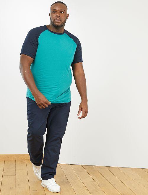 T-shirt raglan bicolore 'éco-conception'                                         bleu marine/vert