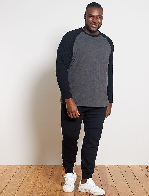 T-shirt raglan bicolore                                         noir/gris chiné