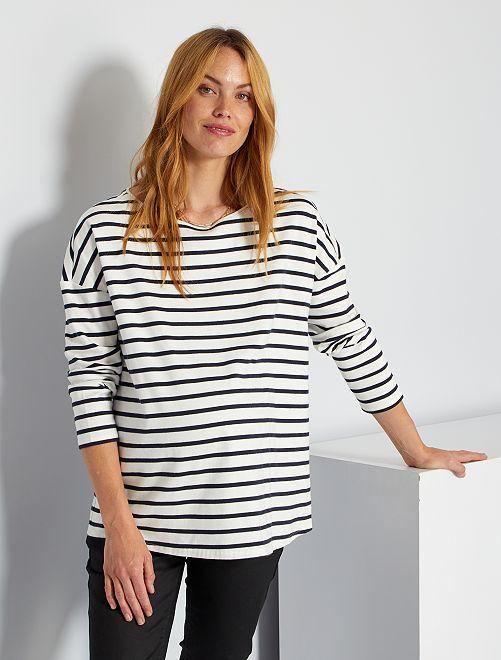 T-shirt rayé                                                     blanc rayé noir