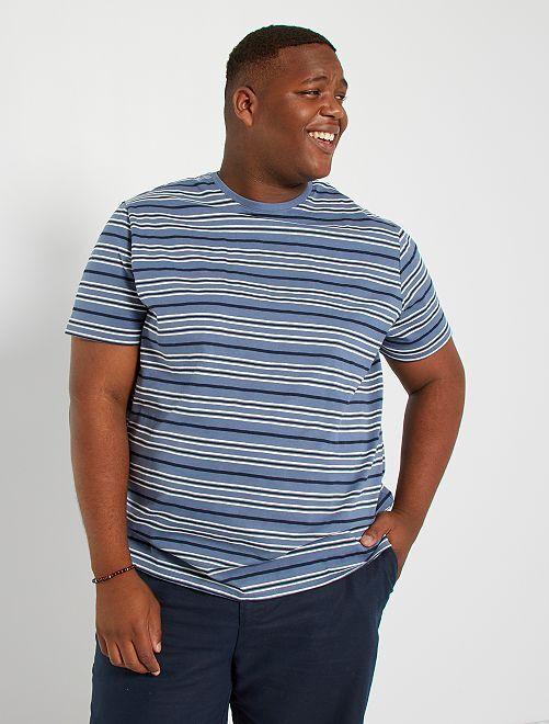 T-shirt rayé                                         bleu gris