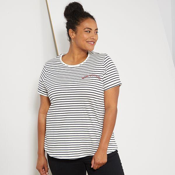 T Shirt Rayé Bon Voyage Grande Taille Femme Blancnoir