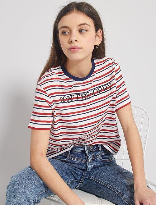 T-shirt rayé brodé                             blanc