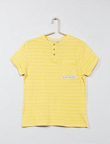 Garçon 3-12 ans - T-shirt rayé col tunisien - Kiabi
