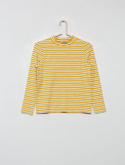 T-shirt rayé côtelé                                         jaune