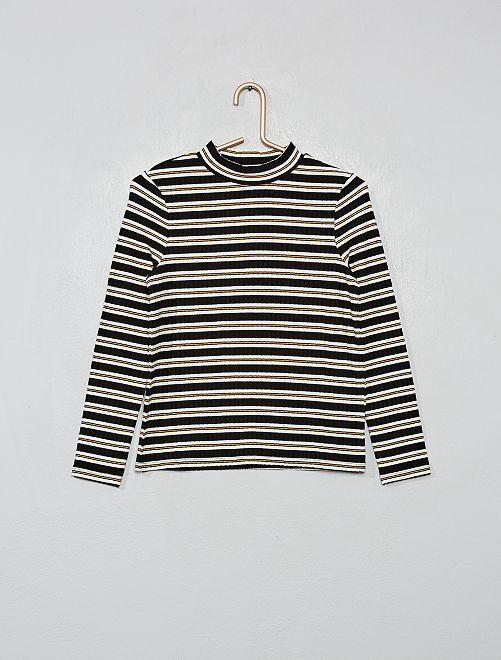 T-shirt rayé côtelé                                         noir