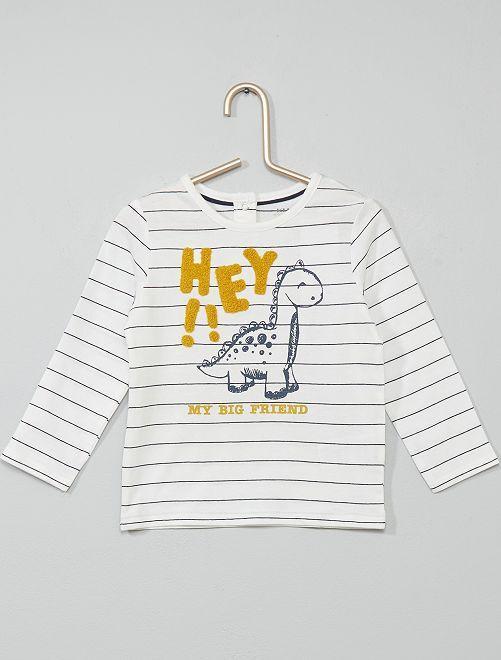 T-shirt rayé coton bio                                                                 blanc/bleu/jaune