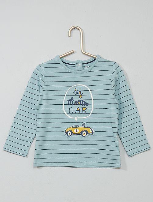 T-shirt rayé coton bio                                                                 bleu/jaune