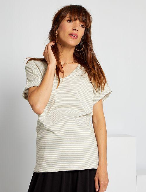 T-shirt rayé de maternité                                         blanc rayé kaki