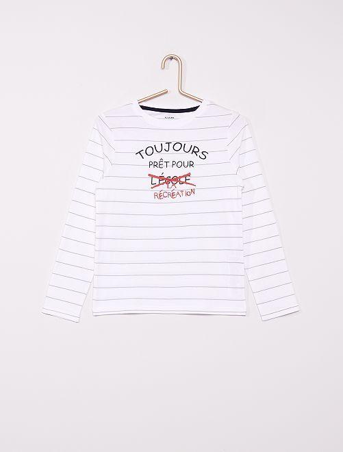 T-shirt rayé éco-conçu                                                                                                     blanc