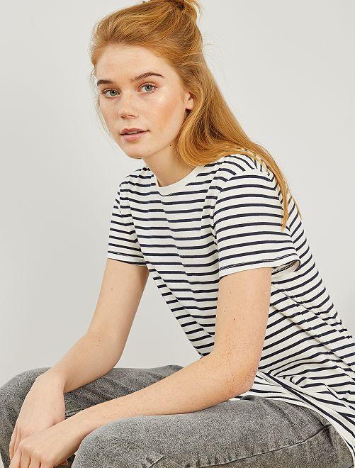 T-shirt rayé éco-conçu                                                                                                                                                                                                                                                                                                                                                                                                                 blanc rayé