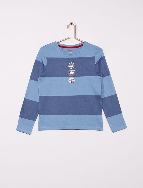 T-shirt rayé éco-conçu                                                                                                     bleu