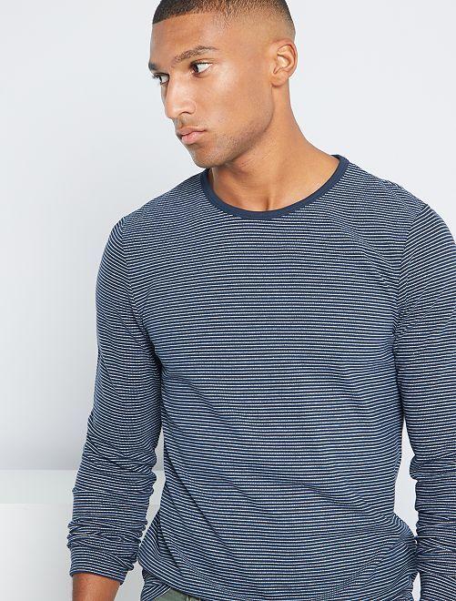 T-shirt rayé éco-conçu                                         bleu marine