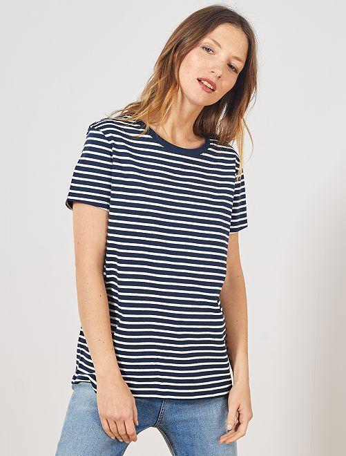 T-shirt rayé éco-conçu                                                                                                                                                                                                                                                                                                                                                                 bleu rayé