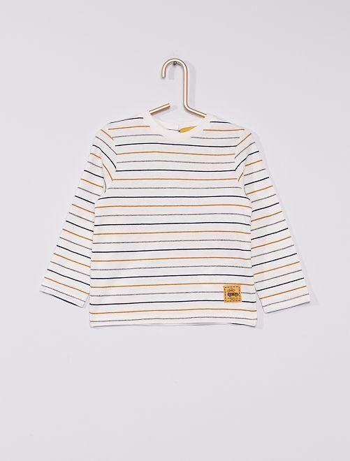T-shirt rayé éco-conçu                             écru/camel/marine