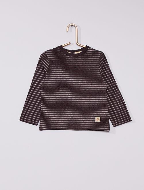 T-shirt rayé éco-conçu                                         gris/écru