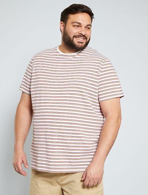 T-shirt rayé                                         écru/rouge/beige