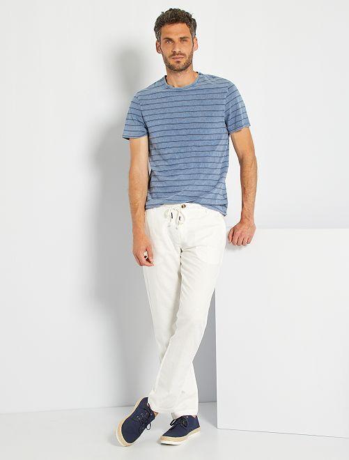 T-shirt rayé effet délavé                                         indigo