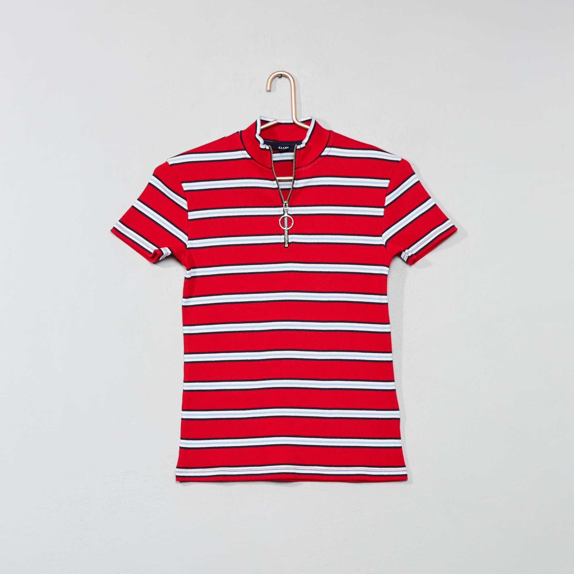 65402d0c19f23 T-shirt rayé en maille côtelée Fille adolescente - rouge - Kiabi - 7