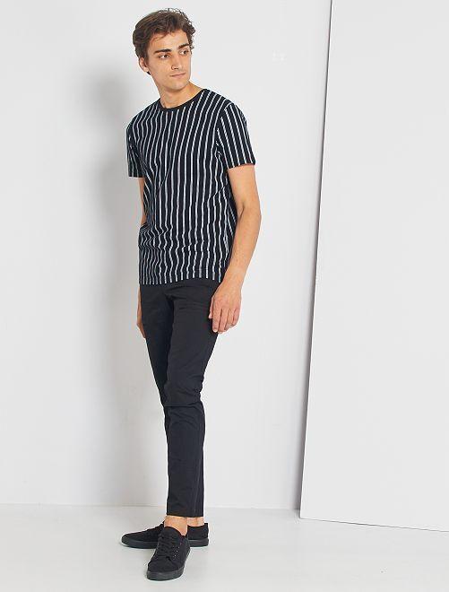 T-shirt rayé en piqué                     noir