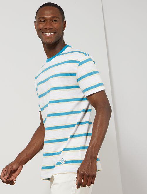 T-shirt rayé esprit vintage                                                     blanc/bleu turquoise/jaune