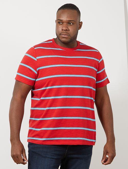 T-shirt rayé esprit vintage                                         rouge/turquoise/blanc