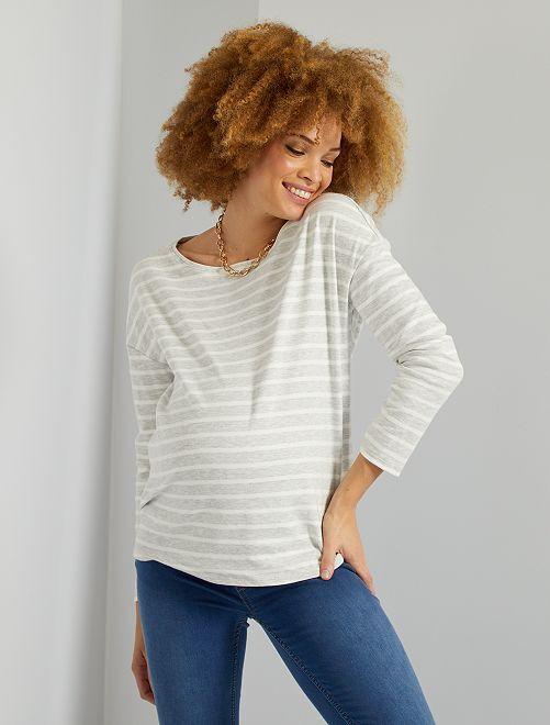 T-shirt rayé                                             gris rayé