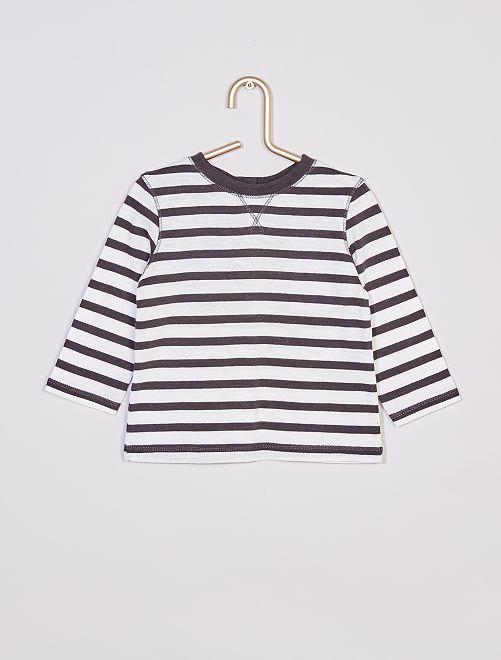 T-shirt rayé                             gris/écru