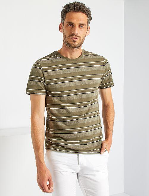 T-shirt rayé                                         kaki/noir/blanc