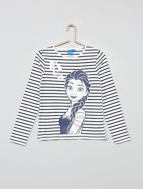 T-shirt rayé 'La Reine des Neiges'                                         écru elsa Fille