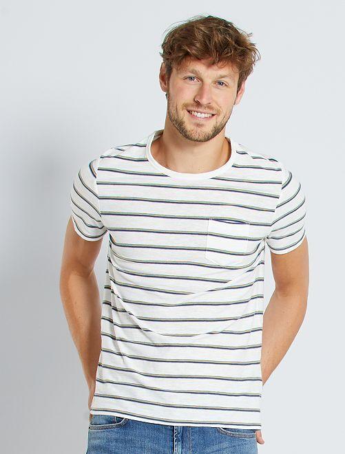 T-shirt rayé poche poitrine                                                                 blanc/jaune/bleu