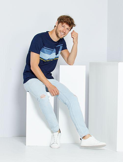 T-shirt rayé poche poitrine                                                                 bleu marine/bleu/jaune