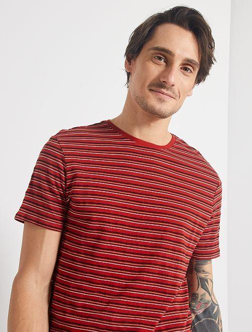 T-shirt rayé                             rouge/noir/écru