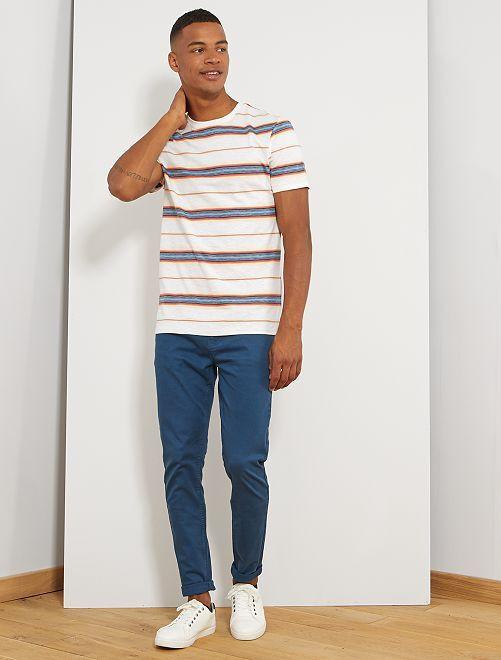 T-shirt rayures colorées                                                     blanc rayé