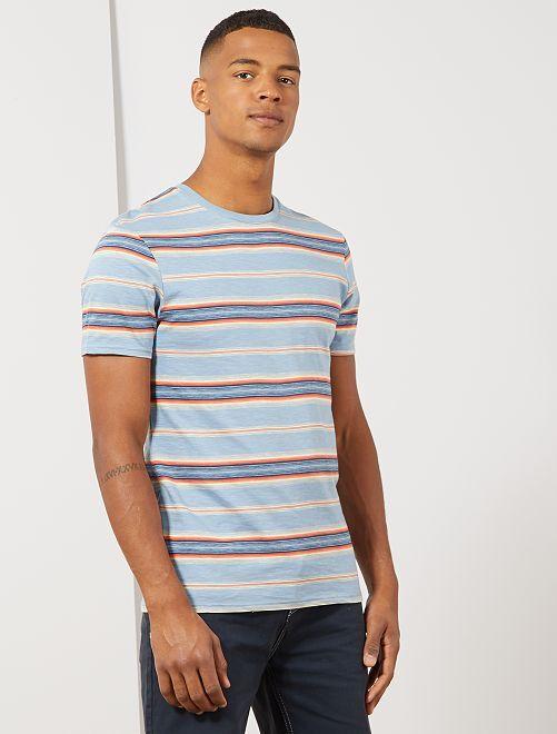 T-shirt rayures colorées                                         bleu rayé